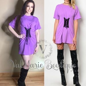 Round Neck Short Sleeve Corset T-Shirt Dress.